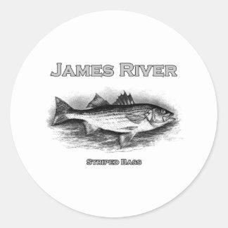James River Vintage Striped Bass Logo Classic Round Sticker