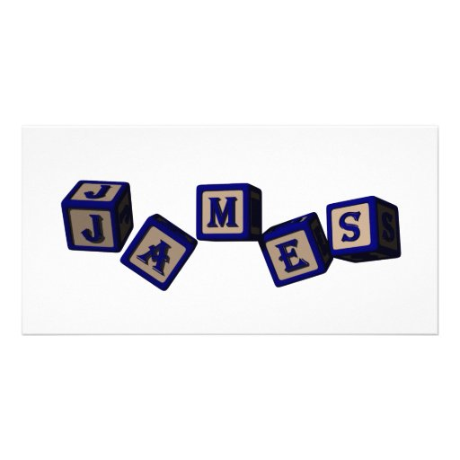 James toy blocks in blue. Great gift for loved one Picture Card