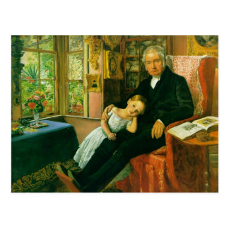 James Wyatt and his Granddaughter Mary Postcard