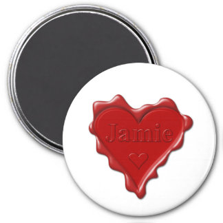 Jamie. Red heart wax seal with name Jamie 3 Inch Round Magnet
