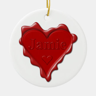 Jamie. Red heart wax seal with name Jamie Ceramic Ornament