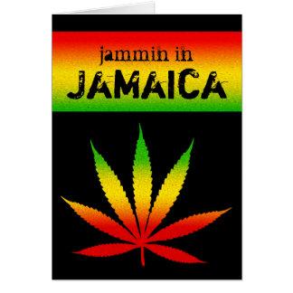 Jammin in Jamaica Reggae Colors Rasta Leaf Black Card
