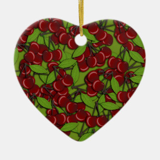 Jammy Cherry pattern Ceramic Heart Ornament