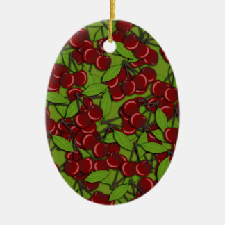 Jammy Cherry pattern Ceramic Oval Ornament