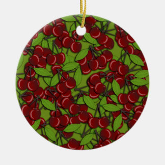 Jammy Cherry pattern Round Ceramic Ornament