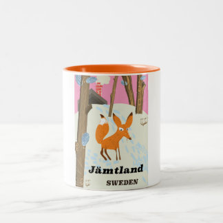 Jämtland Sweden vintage travel poster Two-Tone Coffee Mug