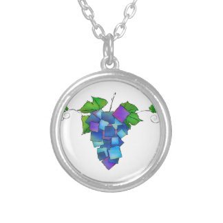 Jamurissa - square grapes silver plated necklace