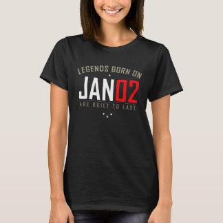 JAN 02 Birthday Date T-Shirt