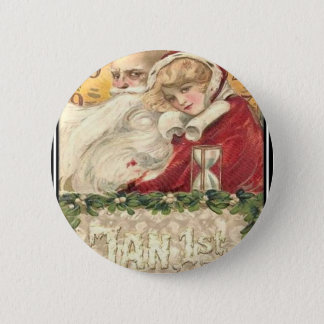 Jan 1st Old Father Time New Year 2 Inch Round Button