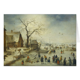 Jan Brueghel the Younger - Villagers on the ice Card
