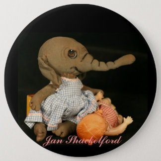 Jan Shackelford  ELEPHANT Gita 6 Inch Round Button