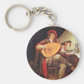 Jan Steen. Self-portrait playing the lute Keychain