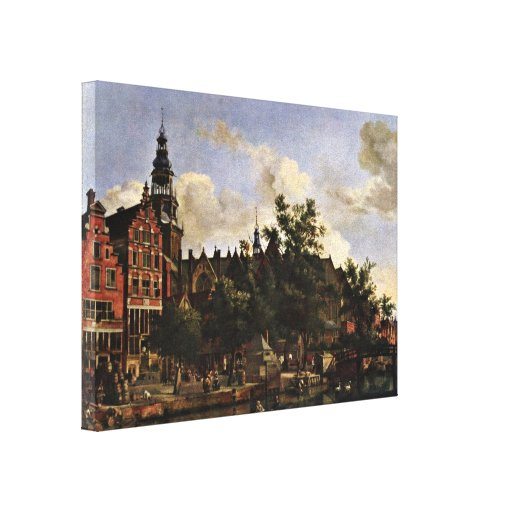 Jan van der Heyden - The Oudezijds in Amsterdam Stretched Canvas Prints