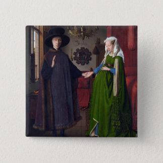 JAN VAN EYCK- Arnolfini Portrait 1434 2 Inch Square Button