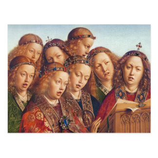 Jan van Eyck Singing angels Ghent altarpiece Postcard