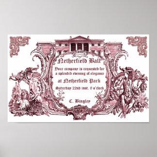 Jane Austen Affiche d invitation de boule de