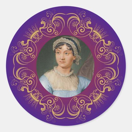 Jane Austen Colour Portrait in Gold Swirl Frame Classic Round Sticker