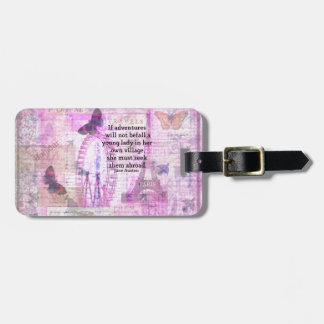 Jane Austen cute  travel quote with art Bag Tag
