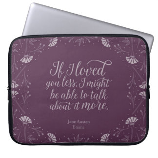 Jane Austen Emma Purple Floral Love Quote Computer Sleeve