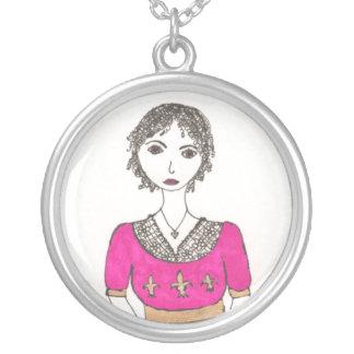 Jane Austen Fleur De Lis Silver Plated Necklace