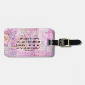 Jane Austen humorous quote with cheerful art image Luggage Tag