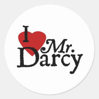 Jane Austen I LOVE Mr. Darcy Round Sticker