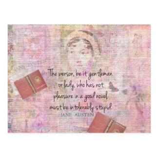 Jane Austen  Intolerably Stupid quote humour Postcard