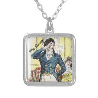 Jane Austen Mr Darcy Square Pendant Necklace