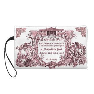 Jane Austen Netherfield Ball Invite Letter Wristlet Clutches