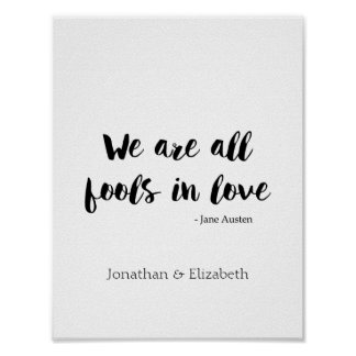 Jane Austen Personalized Romantic Quote Poster
