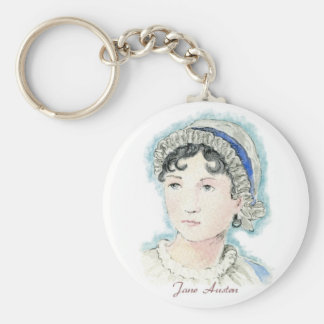 Jane Austen Portrait by Alice Flynn Basic Round Button Keychain