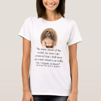 Jane Austen Portrait & Sense & Sensibility quote T-Shirt