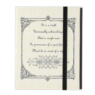 Jane Austen Pride and Prejudice First Line Quote iPad Folio Cover