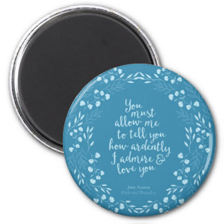 Jane Austen Pride and Prejudice Floral Love Magnet