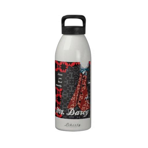 "Jane Austen Pride and Prejudice gift ""Mr. Darcy"" Water Bottles"