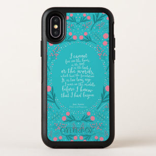 Jane Austen Pride and Prejudice Teal & Pink Floral OtterBox Symmetry iPhone X Case