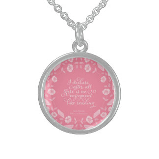 Jane Austen Pride & Prejudice Floral Bookish Quote Sterling Silver Necklace