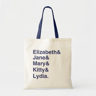Jane Austen Pride & Prejudice Name List Tote Bag