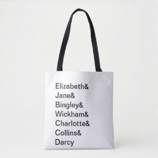 Jane Austen Pride & Prejudice Names Book Tote