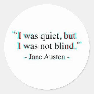Jane Austen quote Classic Round Sticker