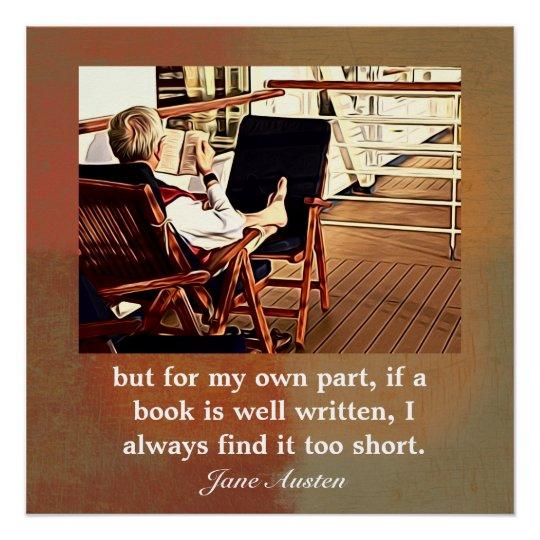 Jane Austen quote On Reading - Art print