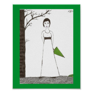 Jane Austen Rice Painting Poster