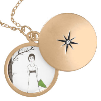 Jane Austen Rice Portrait Gold Plated Necklace