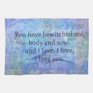 Jane Austen romantic quote Mr. Darcy Kitchen Towel