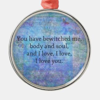 Jane Austen romantic quote Mr. Darcy Silver-Colored Round Ornament