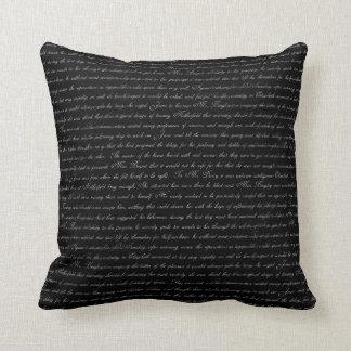 Jane Austen Text Black and White Throw Pillow
