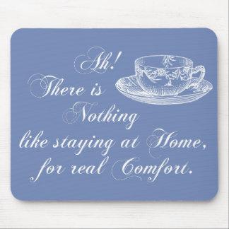 Jane Austen Text Home and Tea Blue Mousepad