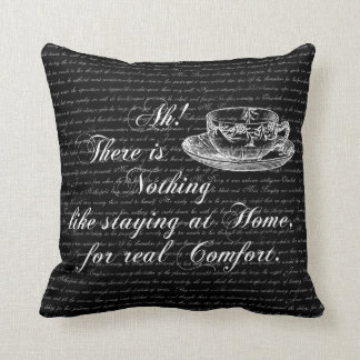 Jane Austen Text Home and Tea Throw Pillow