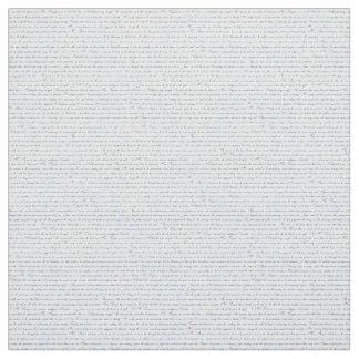 Jane Austen Text White Blue Fabric