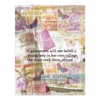 Jane Austen travel adventure quote Custom Letterhead
